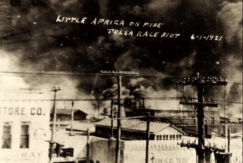 Fires burning along Archer and Greenwood during the massacre